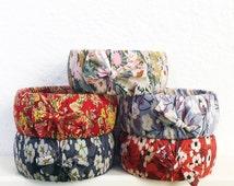 Liberty of London flower fabric wrapped bangle, boho chic stacking bangle, boho flower bracelet, floral fabric bangle, gift for her