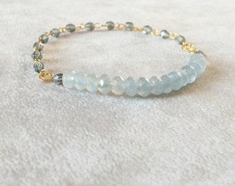 Light Blue Tourmaline Bracelet, Christmas gift for her, Delicate Gold Fill Boho Chic gemstone stacking bracelet, healing crystals bracelet