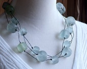Eco Chic Eco Friendly Seafoam Green Matte Resin Recycled Telephone Wire Triple-Strand Necklace