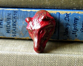 Red Wolf Polymer Clay Shank Button with Bronze Highlights