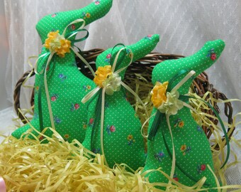 BUNNY Tuckins,Set of 3,  Bunny Tucks,Easter Bunny, Bunny Ornaments, Bunny Decorations, Easter Ornaments, Easter Decorations, Stuffed Bunnies