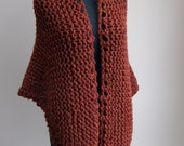 Large Hand Knit Shawl Stylish Comfort Prayer Meditation, Rust Burnt Orange, Triangle, Soft Acrylic Wool Blend, Ready to Ship FREE SHIPPING