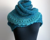 HandKnit Asymmetrical Shoulder Shawl Head Scarf Cowl Wrap, Stylish Comfort Prayer Meditation, Turquoise Blue, Ready to Ship FREE SHIPPING