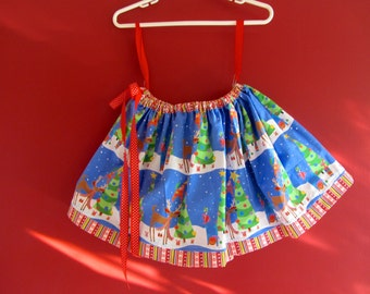 Girls Christmas Holiday Skirt Size 4 5 6 - Twirling Cotton Reindeer OOAK