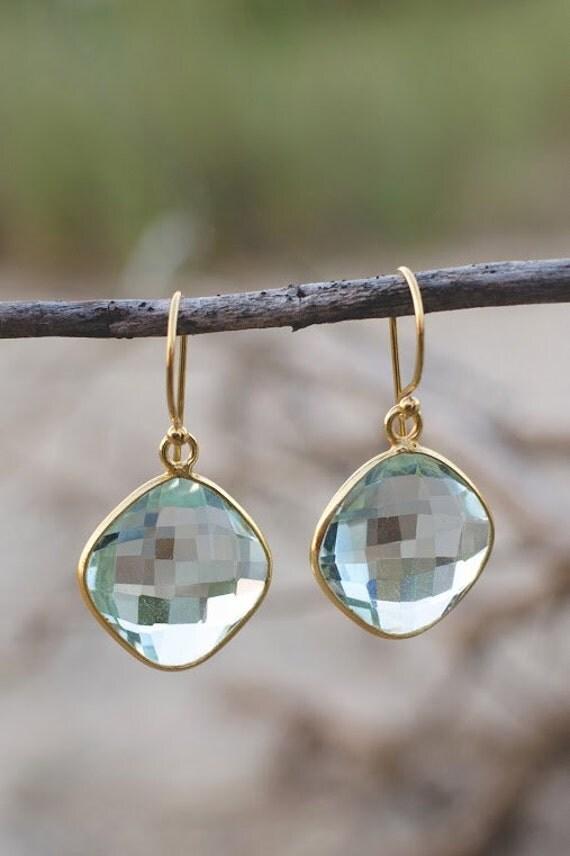 Teal Quartz. Cushion Cut. Dangle Earrings. Gold Filled Ear Wires. Gemstone. Fine Jewelry.