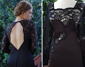 DUCHESS 1970's Vintage Long Black Lace Slip Gown with Plunging Back + Long Sleeves // by Henson // size Large