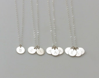 TWO Initials Necklace / Two Monograms Necklace / STERLING Silver Disc Charm Necklace / Simple Daily Jewelry / Couple, Mother Necklace