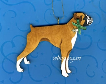 Uncropped Fawn Boxer Christmas Ornament