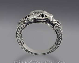 OUROBOROS 14K white gold mens ring Snake with black diamond eyes