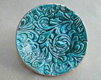 Small Ceramic  Ring  Dish Flourish Malachite GREEN