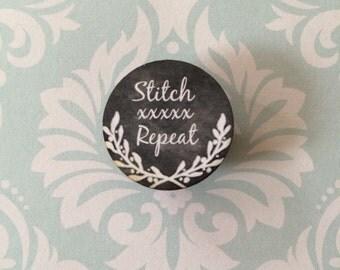 Stitch XXXX Repeat chalk art style needleminder magnetized needle minder