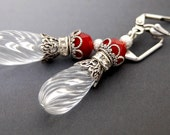 50 PERCENT OFF Candy Cane Earrings, Icicles, Christmas Earrings, Red and Clear Icy Drops