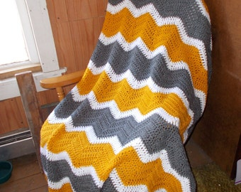 Crochet Ripple Afghan Blanket -Chevron-Ready to Ship-Large size/ Modern/ Mustard White and Gray