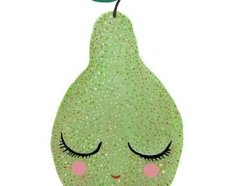Sweet Green Pear Painting - watercolor, gouache, art print, wall decor, nursery