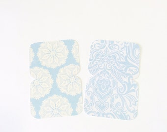 8 Mini Note Cards in Blue