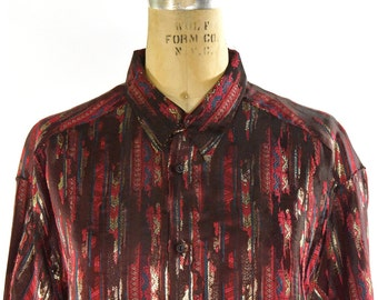 Le Garage Button Up Shirt / Vintage 1980s French Designer Blouse with Metallic Gold Pattern on Merlot / Punk Rock Goth Boho Top