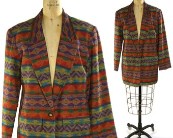 Southwest Blazer with Native American Inspired Pattern / Vintage 1990s / Neiman Marcus