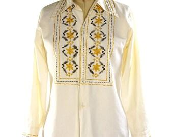 70s Embroidered Peasant Blouse / Vintage 1970s Ethnic Bohemian Hippie Boho Festival Button Up Shirt / Mexican / European / Women's Folk Top