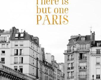 "Paris Quote Print, Typography Art, Van Gogh Quote Typography Print, Paris Print, Travel Decor, Black and White Art ""But One Paris"""