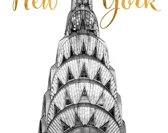 New York Photography Typography Print, Black and White Photography, NYC Art Print, Art Deco Decor, Chrysler Building Home Decor