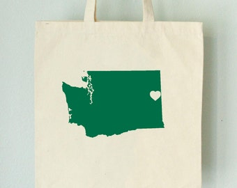 Washington LOVE Tote SPOKANE green state silhouette with heart on natural bag