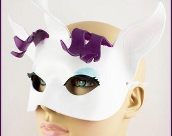 Rarity unicorn mask, handmade leather my little pony brony cosplay costume larp Halloween masquerade