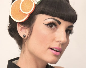 Orange Blossom Fascinator, Orange Slices Hair Clip, Fruit Hair Clip, Retro hair