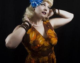 Blue Dahlia Hair Flower Clip- Pinup Hair Flower, Rockabilly Hair Clip