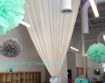 Tissue paper flower pom open ready to hang 7 by for Hanging pom poms from ceiling