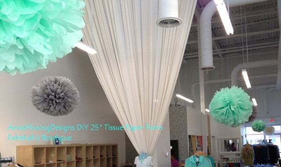 DIY  25 inch  tissue paper pom, very large, reception, ceiling, hanging, your color