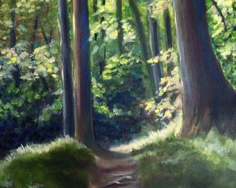 Morning Hike at Grotto Falls trail original oil painting 14x11 inches