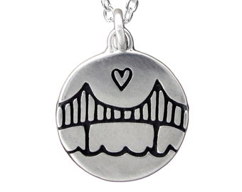 Sterling Silver Golden Gate Bridge Necklace - San Francisco Pendant - Bay Area Medallion