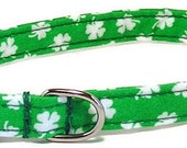 Dog Collar - Lucky Clover - Size XS to Large (Includes Extra Small, Teacup, Miniature) - Fancy, Soft and Handmade
