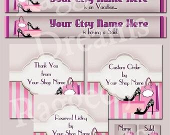 Premade Etsy Banner Set - Etsy Shop Banner - SHOP ICON - Shop Profile Photo - High Heel Shoes Pink Purple Boutique - Etsy Banner