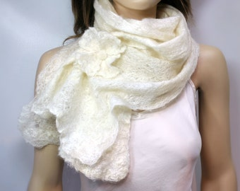 Lacy Felted Scarf  w/ Optional Flower Pin -Soft translucent ultra-light felted longfiber wool and silk