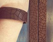 geo leather cuff