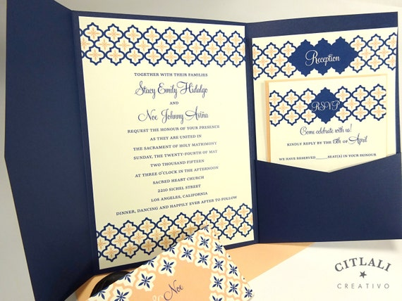 Navy And Peach Wedding Invitations: Quatrefoil Invitation In Navy & Peach Pocketfolder By Citlali