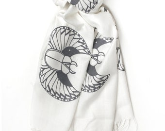 Silk Blend Scarab Scarf White/Gray