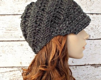 Grey Womens Hat Grey Newsboy Hat - Swirl Beanie with Visor Granite Grey Knit Hat - Grey Hat Grey Beanie Chunky Knit Hat