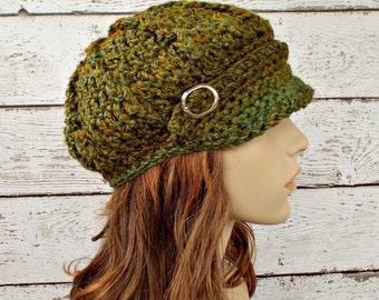 Crochet Hat Womens Hat - Spring Monarch Ribbed Crochet Green Newsboy Hat Ozark Forest Green Hat Womens Accessories