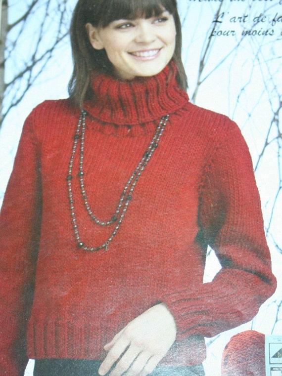 Turtleneck Knitting Pattern Phentex Chunky 99000600506 Sweater
