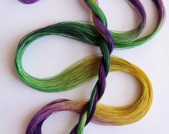 "Size 80 ""Mardi Gras"" hand dyed thread 6 cord cordonnet tatting crochet cotton"