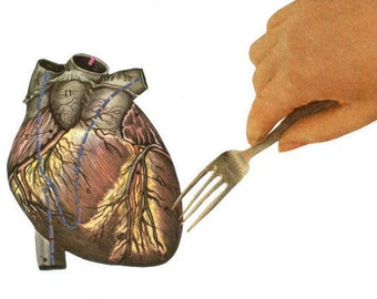 Human Heart, Anatomy Artwork, Anatomic Heart Oddity, Anatomical Artwork, Anatomy Decor, Eat Your Heart Out, Original Collage Art