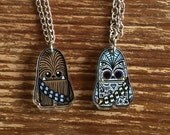 Chewbacca Inspired Tiny Sugar Skull Two-Sided Necklace
