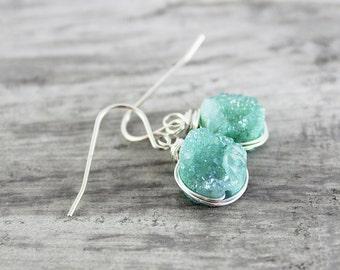 Light Turquoise Earrings, Turquoise Druzy Earrings, Druzy Gemstone Earrings, Small Dangle Earrings, Wire Wrap Earrings, Light Green Earrings