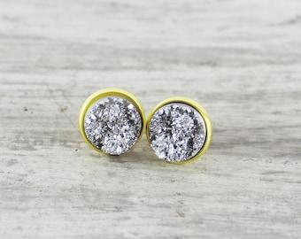 Gold Stud Earrings, Faux Druzy Earrings, Silver Druzy Earrings, Druzy Stud Earrings, Small Stud Earrings, Resin Cabochon Earrings