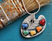 Artist's Pallette - Porcelain Necklace with Rainbow Colors