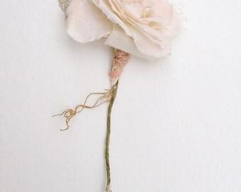 4th Wedding Anniversary Gift Long Stem Flower for Her Wife Girlfriend Fiancee Linen Flower - Made to Order