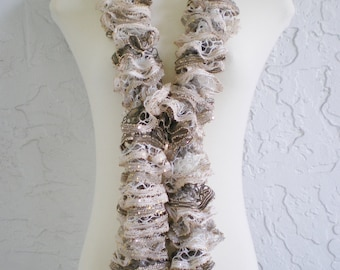hand knit ruffle scarf womens scarf evening scarf evening scarf womens accessories  ~ spirals ~  Beige white gold sequins