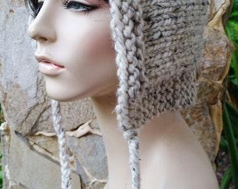 hand knit hood hat womens hood hat womens accessories knitted hood winter hat ~ hood hat ~ oatmeal